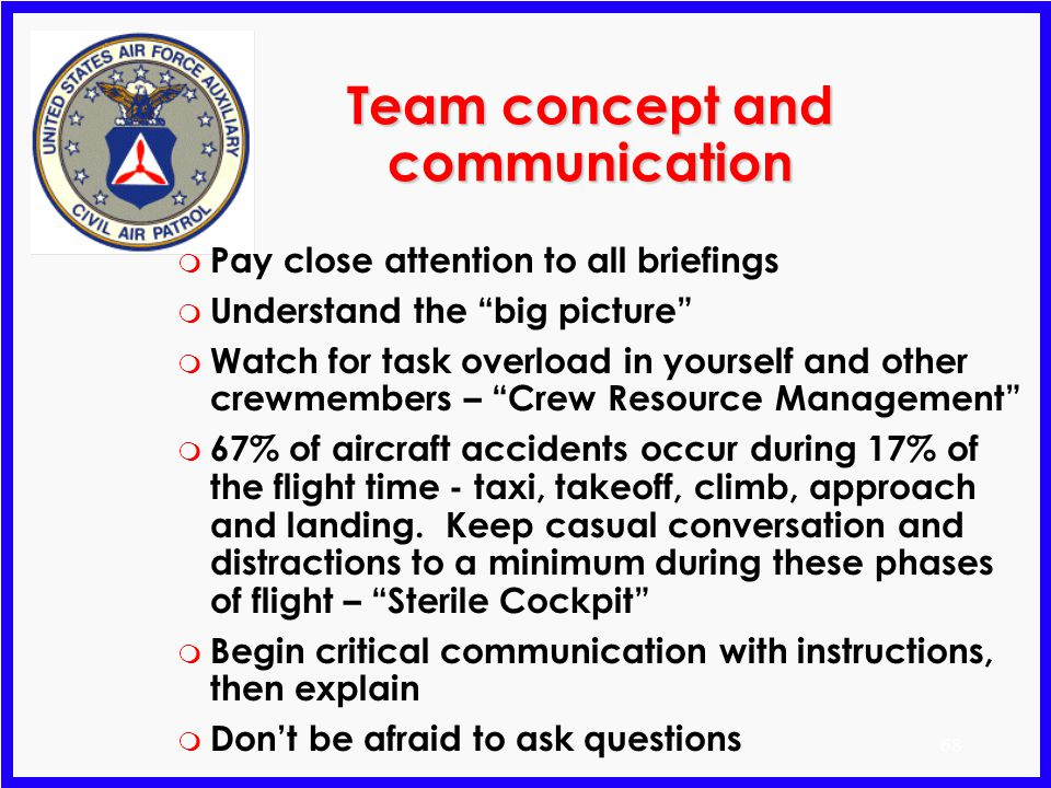 67 Observers Log m Provides a record of the flight Preflight calculations Record of observations m Basis for debriefing m Used to complete CAPF 104 (D