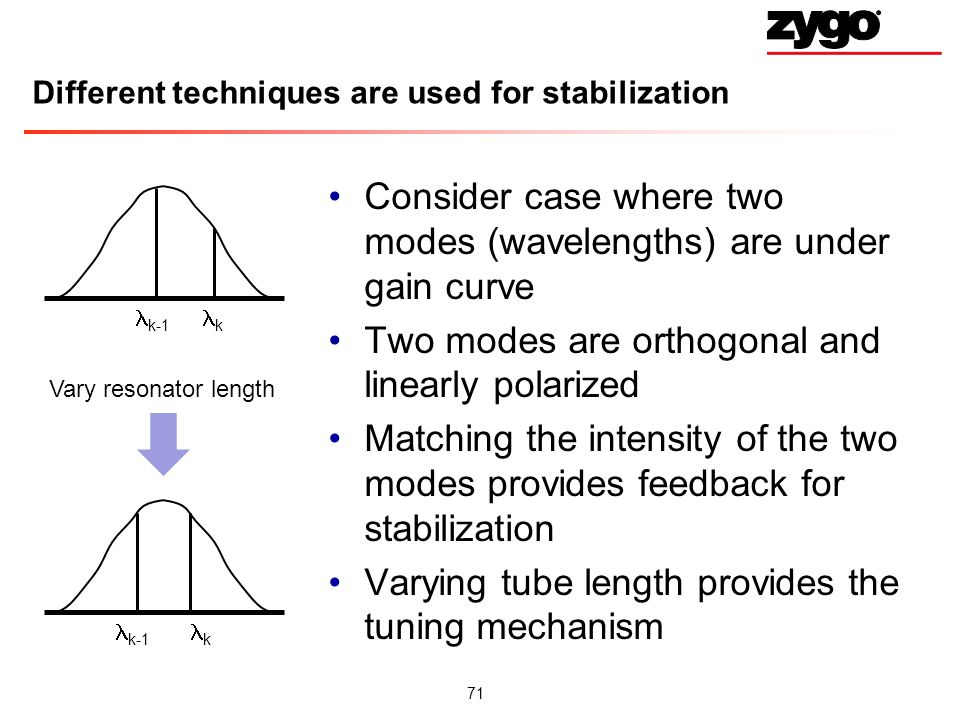 71 Different techniques are used for stabilization Consider case where two modes (wavelengths) are under gain curve Two modes are orthogonal and linearly polarized Matching the intensity of the two modes provides feedback for stabilization Varying tube length provides the tuning mechanism k-1 k k Vary resonator length
