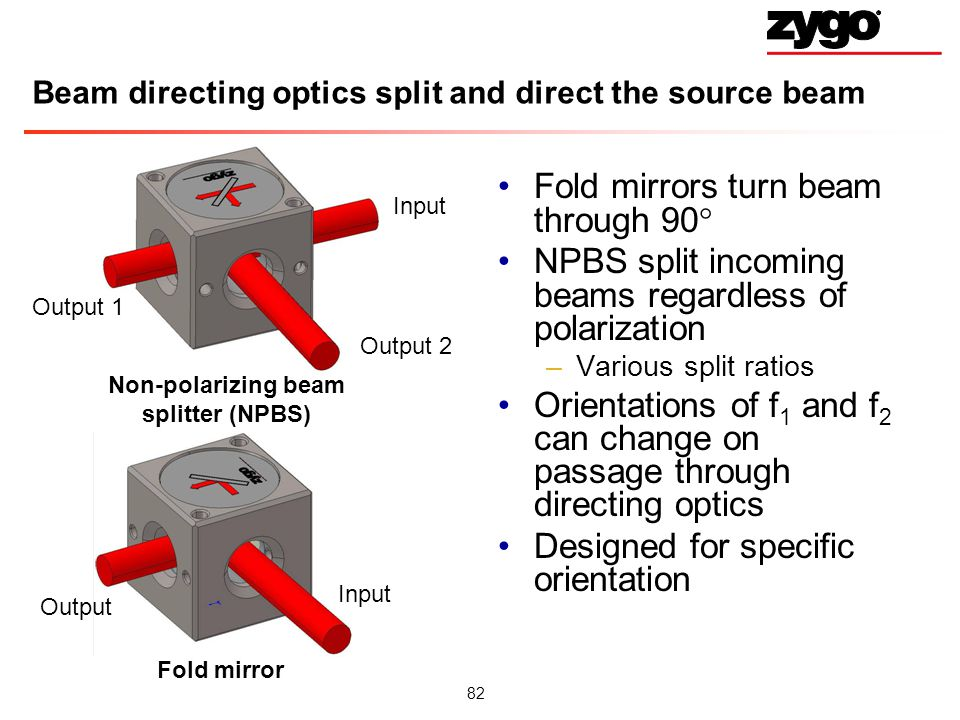 82 Beam directing optics split and direct the source beam Fold mirrors turn beam through 90 NPBS split incoming beams regardless of polarization –Various split ratios Orientations of f 1 and f 2 can change on passage through directing optics Designed for specific orientation Non-polarizing beam splitter (NPBS) Fold mirror Input Output Output 2 Output 1