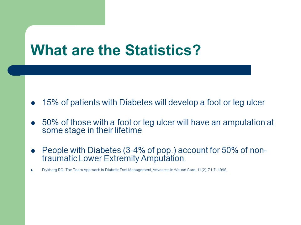 What are the Statistics? 15% of patients with Diabetes will develop a foot or leg ulcer 50% of those with a foot or leg ulcer will have an amputation