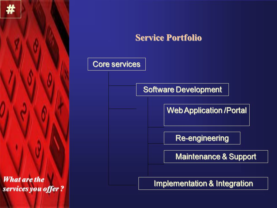 Service Portfolio Core services Software Development Re-engineering Maintenance & Support # What are the services you offer .