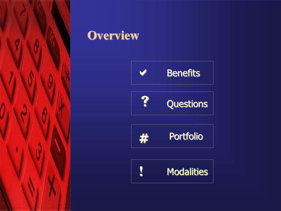 © eComScience Pvt. Ltd. 2001 Overview Benefits Questions Modalities ! Portfolio #