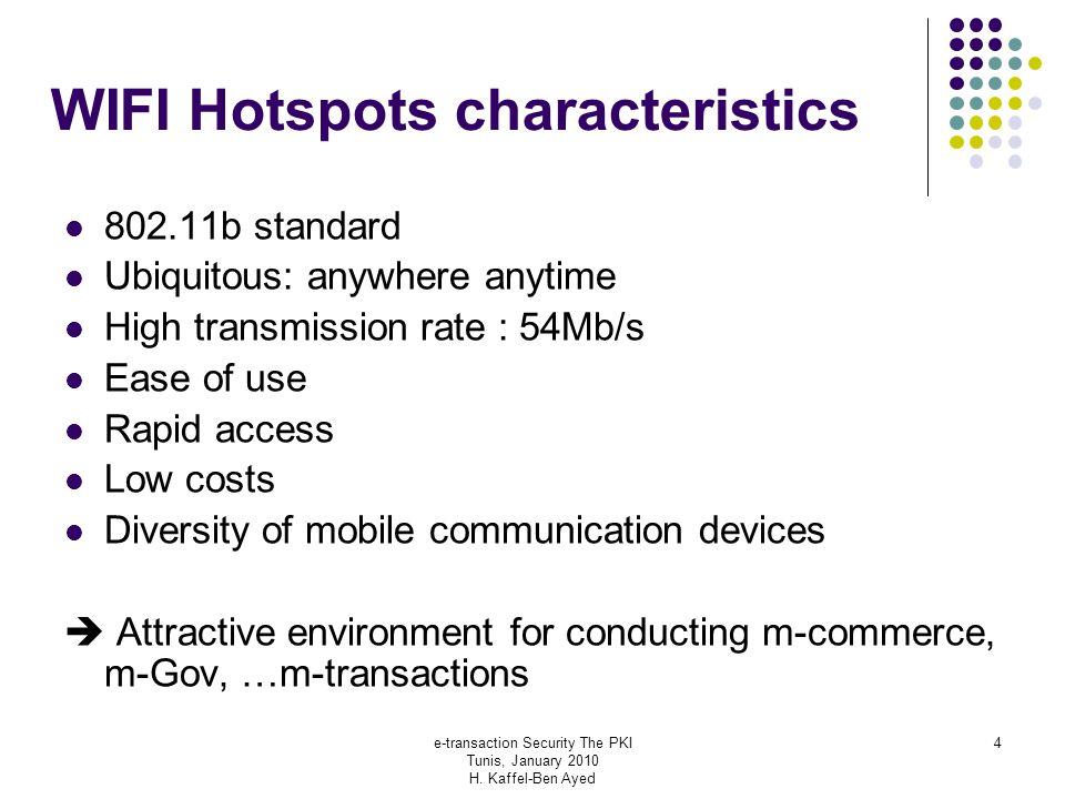 e-transaction Security The PKI Tunis, January 2010 H. Kaffel-Ben Ayed 4 WIFI Hotspots characteristics 802.11b standard Ubiquitous: anywhere anytime Hi