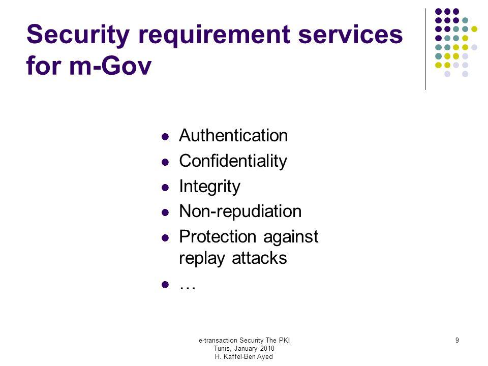 e-transaction Security The PKI Tunis, January 2010 H.