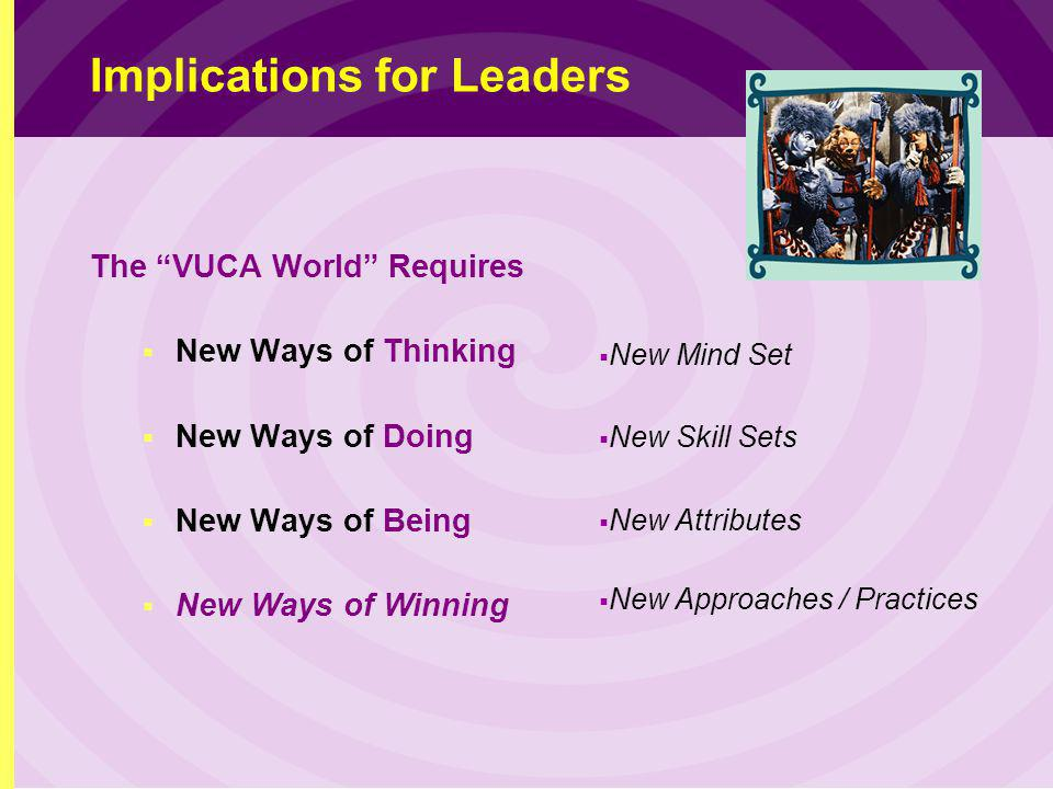 Implications for Leaders The VUCA World Requires New Ways of Thinking New Ways of Doing New Ways of Being New Ways of Winning New Mind Set New Skill Sets New Attributes New Approaches / Practices