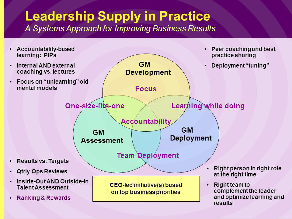 Leadership Supply in Practice A Systems Approach for Improving Business Results GM Development GM Deployment Right person in right role at the right time Right team to complement the leader and optimize learning and results Accountability Focus One-size-fits-oneLearning while doing Team Deployment Accountability-based learning: PIPs Internal AND external coaching vs.