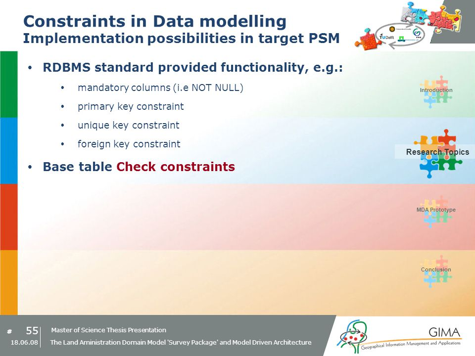 Master of Science Thesis Presentation # Research Topics IntroductionMDA PrototypeConclusion 55 18.06.08 The Land Aministration Domain Model Survey Package and Model Driven Architecture Constraints in Data modelling Implementation possibilities in target PSM RDBMS standard provided functionality, e.g.: mandatory columns (i.e NOT NULL) primary key constraint unique key constraint foreign key constraint Base table Check constraints Research Topics