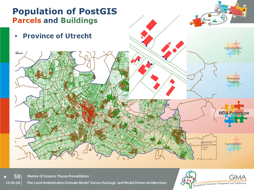 Master of Science Thesis Presentation # Research Topics IntroductionMDA PrototypeConclusion 58 18.06.08 The Land Aministration Domain Model Survey Package and Model Driven Architecture Population of PostGIS Parcels and Buildings Province of Utrecht MDA Prototype