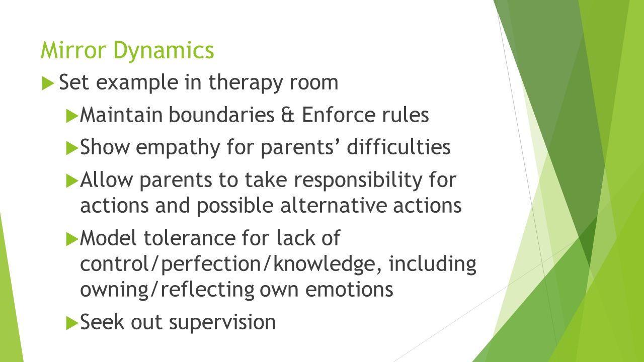 Mirror Dynamics Set example in therapy room Maintain boundaries & Enforce rules Show empathy for parents difficulties Allow parents to take responsibi