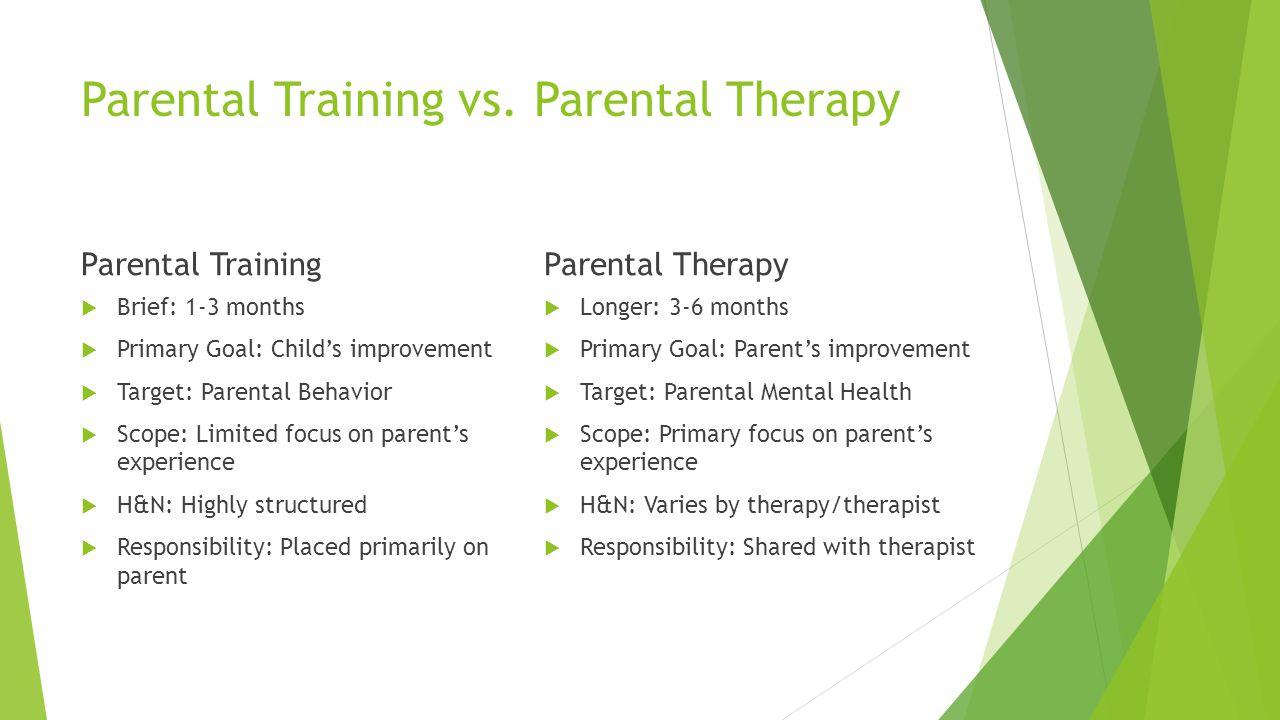 Parental Training vs. Parental Therapy Parental Training Brief: 1-3 months Primary Goal: Childs improvement Target: Parental Behavior Scope: Limited f