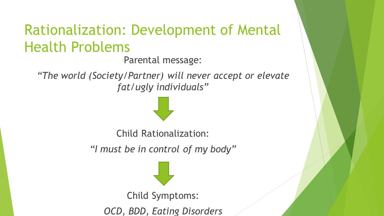 Rationalization: Development of Mental Health Problems Parental message: The world (Society/Partner) will never accept or elevate fat/ugly individuals