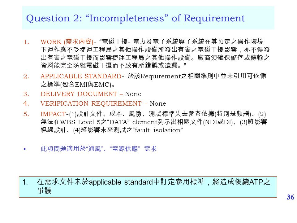 36 Question 2: Incompleteness of Requirement 1.WORK ( ) - - 2.APPLICABLE STANDARD - Requirement ( EMI EMC) 3.DELIVERY DOCUMENT – None 4.VERIFICATION REQUIREMENT - None 5.IMPACT - (1) ( ) (2) WBS Level 5DATA element (NDI DI) (3) (4)fault isolation 1.