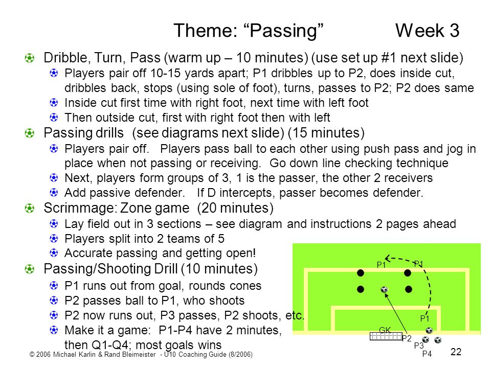 © 2006 Michael Karlin & Rand Bleimeister - U10 Coaching Guide (8/2006) 22 Theme: Passing Week 3 Dribble, Turn, Pass (warm up – 10 minutes) (use set up