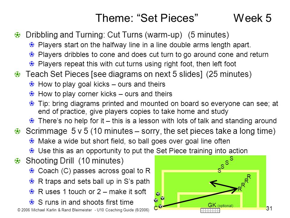 © 2006 Michael Karlin & Rand Bleimeister - U10 Coaching Guide (8/2006) 31 Theme: Set Pieces Week 5 Dribbling and Turning: Cut Turns (warm-up) (5 minut