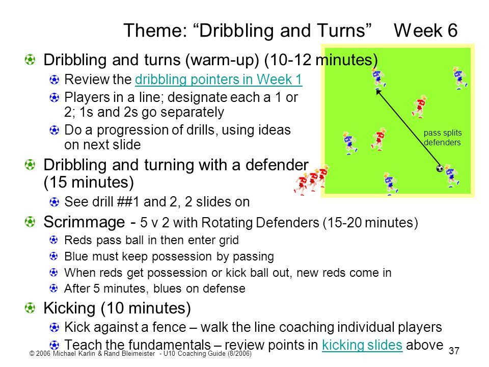 © 2006 Michael Karlin & Rand Bleimeister - U10 Coaching Guide (8/2006) 37 Theme: Dribbling and Turns Week 6 pass splits defenders Dribbling and turns