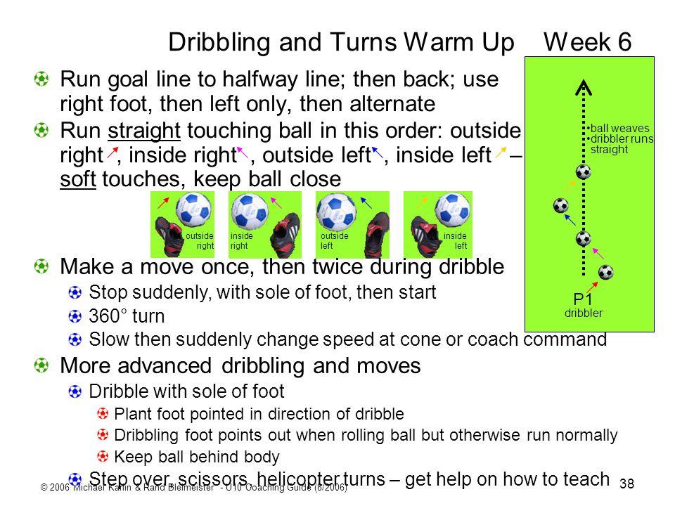 © 2006 Michael Karlin & Rand Bleimeister - U10 Coaching Guide (8/2006) 38 Dribbling and Turns Warm UpWeek 6 P1 dribbler ball weaves dribbler runs stra
