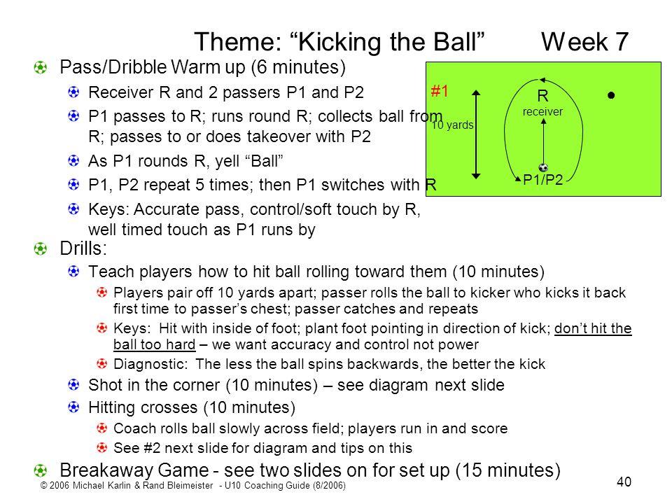 © 2006 Michael Karlin & Rand Bleimeister - U10 Coaching Guide (8/2006) 40 Theme: Kicking the BallWeek 7 Drills: Teach players how to hit ball rolling
