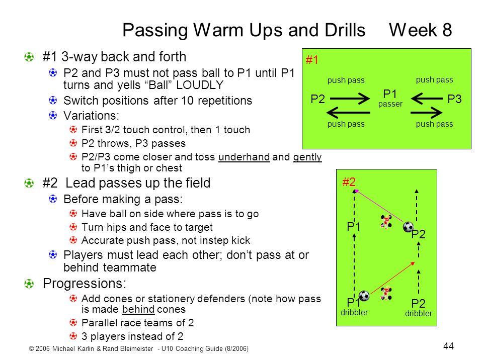 © 2006 Michael Karlin & Rand Bleimeister - U10 Coaching Guide (8/2006) 44 Passing Warm Ups and DrillsWeek 8 P1 passer P3P2 push pass #1 P1 dribbler P2