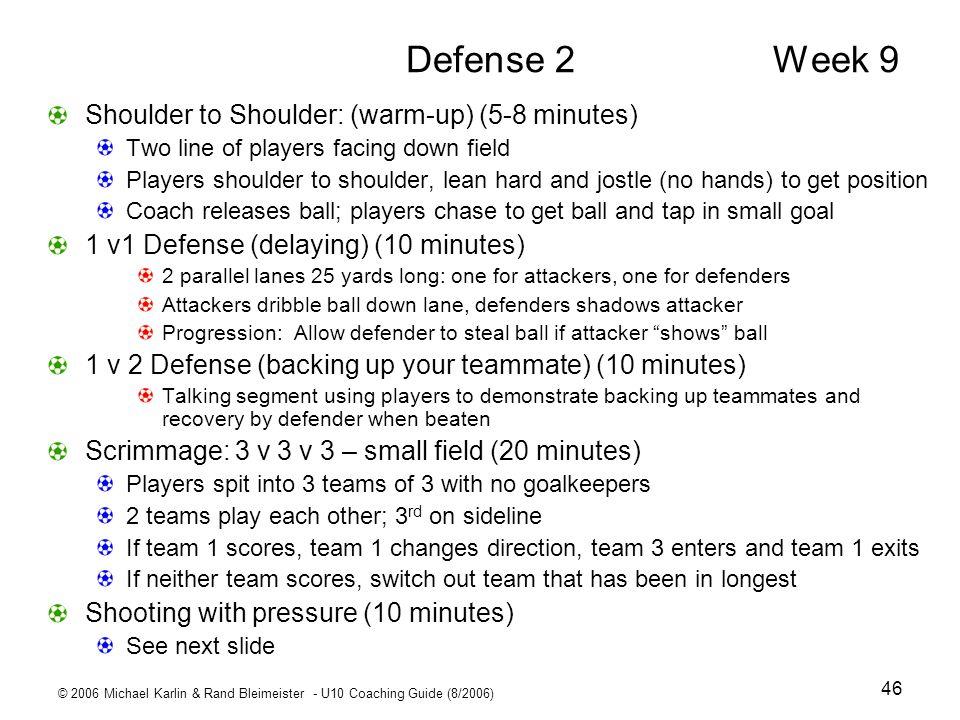 © 2006 Michael Karlin & Rand Bleimeister - U10 Coaching Guide (8/2006) 46 Defense 2 Week 9 Shoulder to Shoulder: (warm-up) (5-8 minutes) Two line of p
