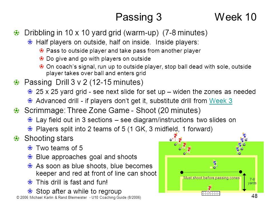 © 2006 Michael Karlin & Rand Bleimeister - U10 Coaching Guide (8/2006) 48 Passing 3 Week 10 Dribbling in 10 x 10 yard grid (warm-up) (7-8 minutes) Hal