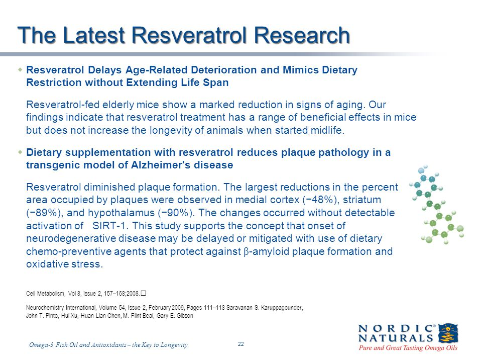 Temp-A.ppt 6/4/2014 22 22 Omega-3 Fish Oil and Antioxidants – the Key to Longevity The Latest Resveratrol Research Resveratrol Delays Age-Related Deterioration and Mimics Dietary Restriction without Extending Life Span Resveratrol-fed elderly mice show a marked reduction in signs of aging.