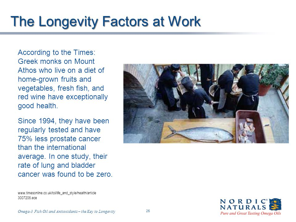 Temp-A.ppt 6/4/2014 25 25 Omega-3 Fish Oil and Antioxidants – the Key to Longevity The Longevity Factors at Work According to the Times: Greek monks on Mount Athos who live on a diet of home-grown fruits and vegetables, fresh fish, and red wine have exceptionally good health.