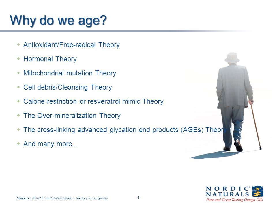 Temp-A.ppt 6/4/2014 6 6 Omega-3 Fish Oil and Antioxidants – the Key to Longevity Why do we age.