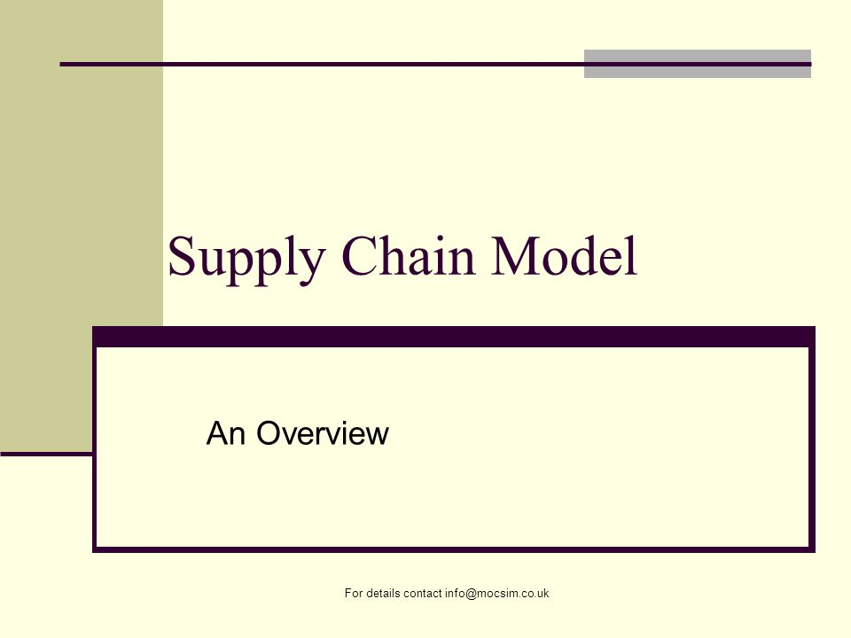 For details contact info@mocsim.co.uk Supply Chain Model An Overview