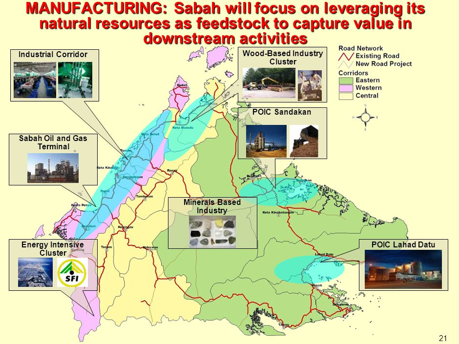 21 Wood-Based Industry Cluster Industrial Corridor Sabah Oil and Gas Terminal Energy Intensive Cluster POIC Sandakan POIC Lahad Datu Minerals Based In
