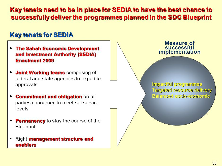 Impactful programmes Targeted resource delivery Balanced socio-economic 30 Key tenets need to be in place for SEDIA to have the best chance to success