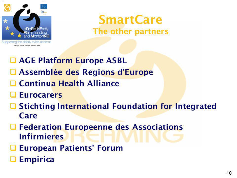 AGE Platform Europe ASBL Assemblée des Regions dEurope Continua Health Alliance Eurocarers Stichting International Foundation for Integrated Care Federation Europeenne des Associations Infirmieres European Patients Forum Empirica SmartCare The other partners 10