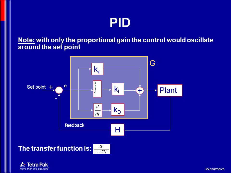 Mechatronics PID Note: with only the proportional gain the control would oscillate around the set point The transfer function is: kpkp kDkD kIkI + Pla
