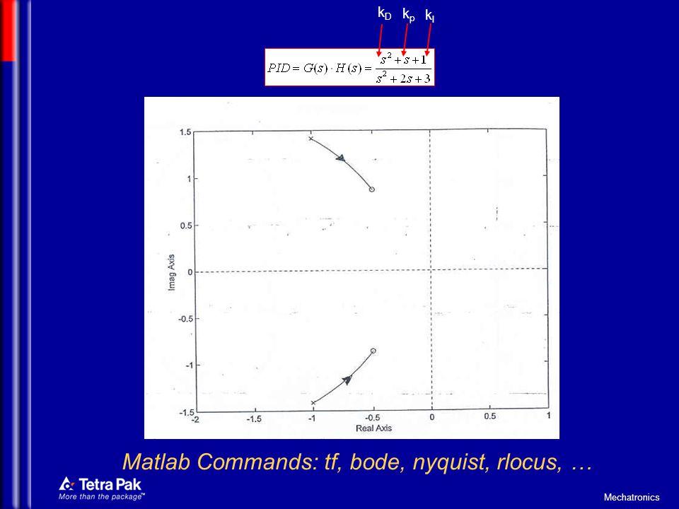 Mechatronics kDkD kpkp kIkI Matlab Commands: tf, bode, nyquist, rlocus, …