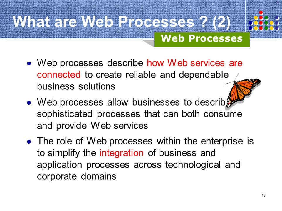 10 What are Web Processes ? (2) Web processes describe how Web services are connected to create reliable and dependable business solutions Web process