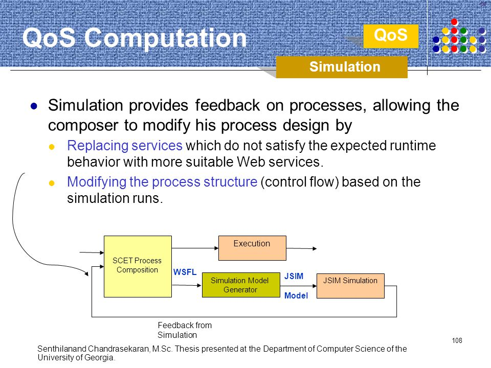 108 Simulation provides feedback on processes, allowing the composer to modify his process design by Replacing services which do not satisfy the expec