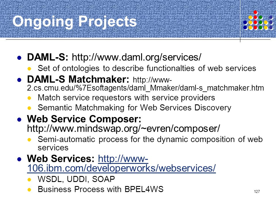 127 Ongoing Projects DAML-S: http://www.daml.org/services/ Set of ontologies to describe functionalties of web services DAML-S Matchmaker: http://www-