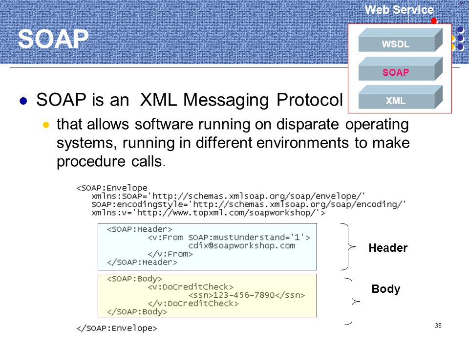 38 SOAP SOAP is an XML Messaging Protocol that allows software running on disparate operating systems, running in different environments to make proce