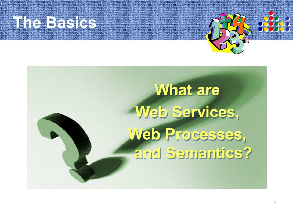 75 Web Services Specification DAML-S The service profile ontology describes the functionality of a Web service.