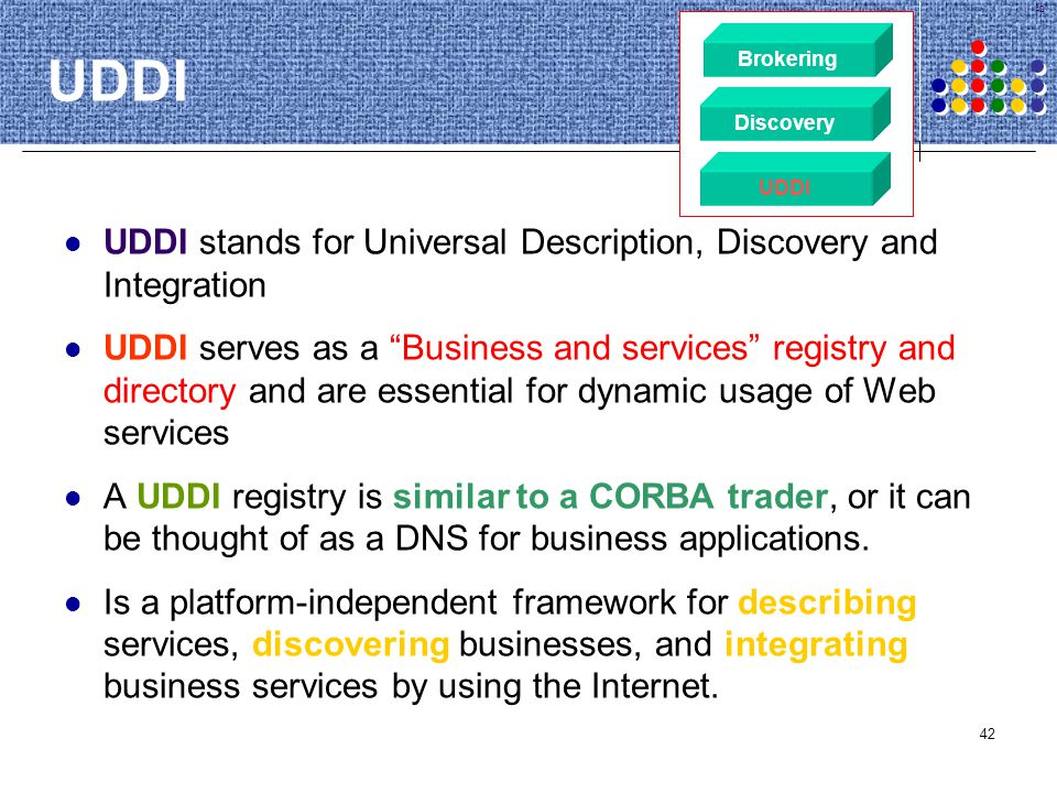 42 UDDI UDDI stands for Universal Description, Discovery and Integration UDDI serves as a Business and services registry and directory and are essenti