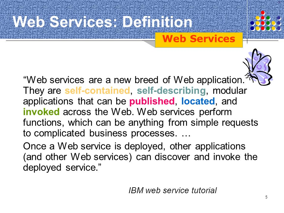 46 Semantic Discovery of Web Services Web Services must be located (Discovery) that might contain the desired functionality, operational metrics, and interfaces needed to carry out the realization of a given task.