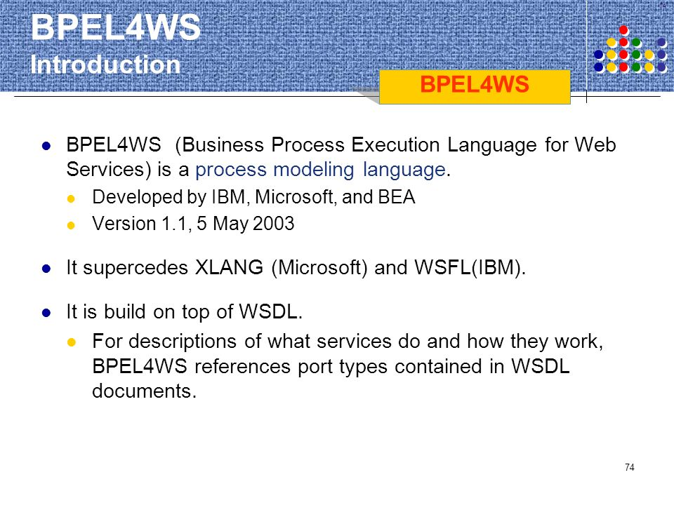 74 BPEL4WS Introduction BPEL4WS (Business Process Execution Language for Web Services) is a process modeling language. Developed by IBM, Microsoft, an