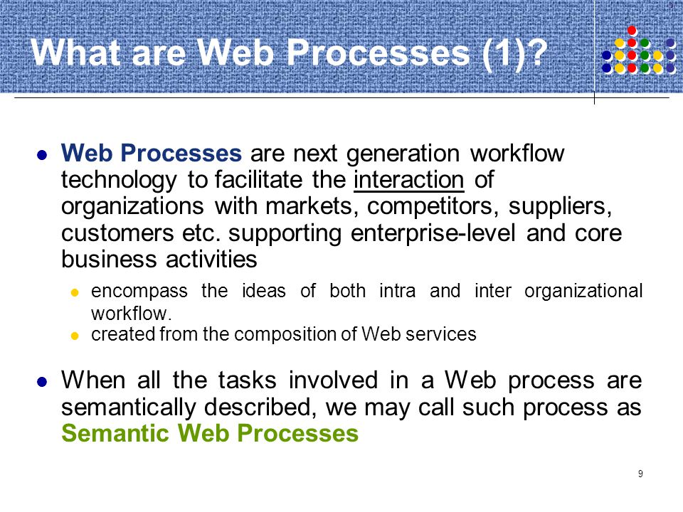 90 Semantic QoS Web Processes Quality of Service Organizations operating in modern markets, such as e-commerce activities, require QoS management.