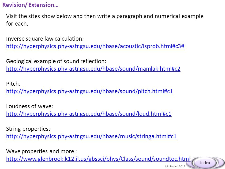 Mr Powell 2012 Index Revision/ Extension… Visit the sites show below and then write a paragraph and numerical example for each.