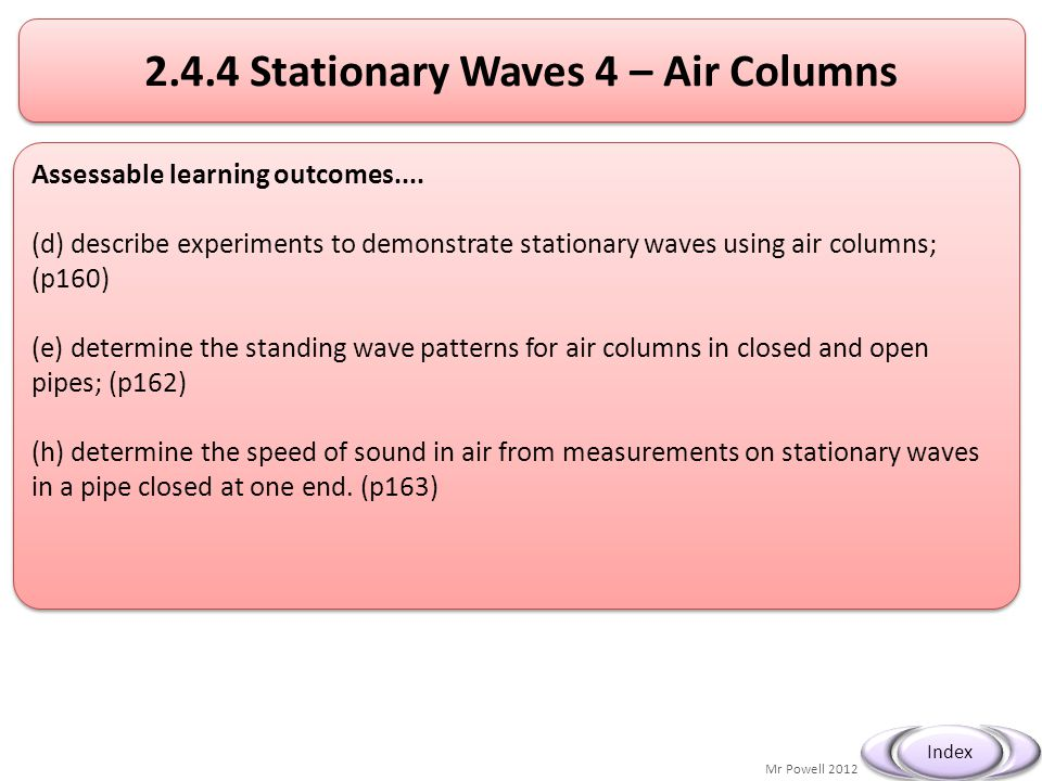 Mr Powell 2012 Index 2.4.4 Stationary Waves 4 – Air Columns Assessable learning outcomes.... (d) describe experiments to demonstrate stationary waves