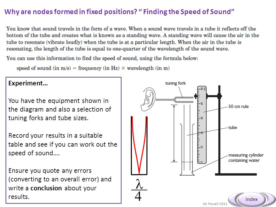 Mr Powell 2012 Index Speed of Sound – Extra Help… Frequency (Hz) Length (m)Wavelength (m) Velocity (ms -1 ) Ave 343 dry air 20 o C You might use a table as shown below… Also you might decide to repeat your readings for more accuracy.