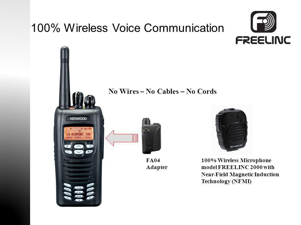 100% Wireless Voice Communication FA04 Adapter 100% Wireless Microphone model FREELINC 2000 with Near-Field Magnetic Induction Technology (NFMI) No Wi