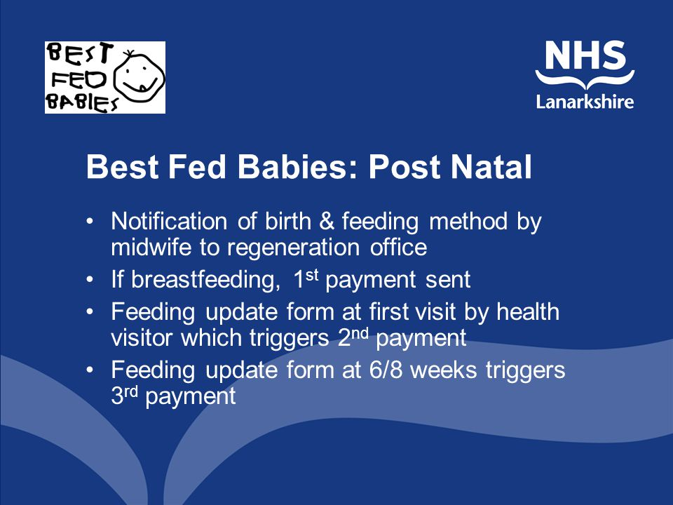 Best Fed Babies: Post Natal Notification of birth & feeding method by midwife to regeneration office If breastfeeding, 1 st payment sent Feeding updat