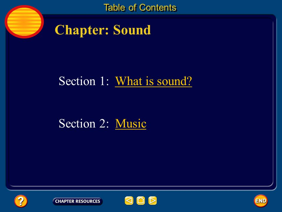 Chapter: Sound Table of Contents Section 1: What is sound? Section 2: MusicMusic