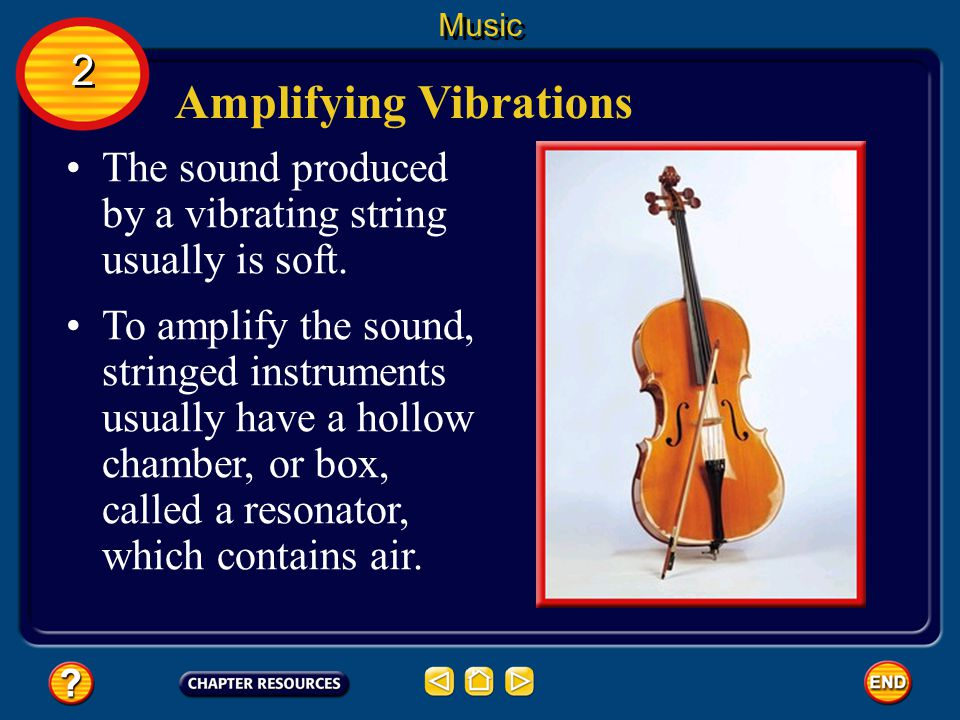 Stringed Instruments Stringed instruments produce music by making strings vibrate. Music 2 2 The strings often are made of wire. The pitch of the note