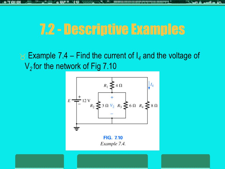 7.2 - Descriptive Examples Example 7.4 – Find the current of I 4 and the voltage of V 2 for the network of Fig 7.10